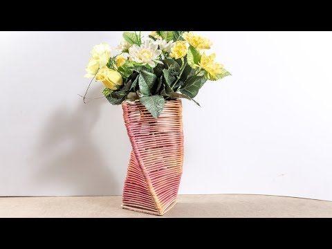 diy flower vase popsicle stick crafts ideas for home decor