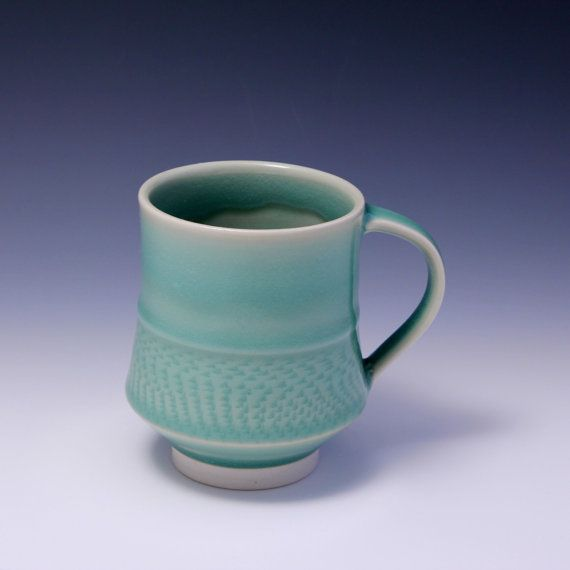 Wheel Thrown Porcelain Mug Celadon Glaze with Chattering Texture by Hsin-Chuen Lin on Etsy, $50.00