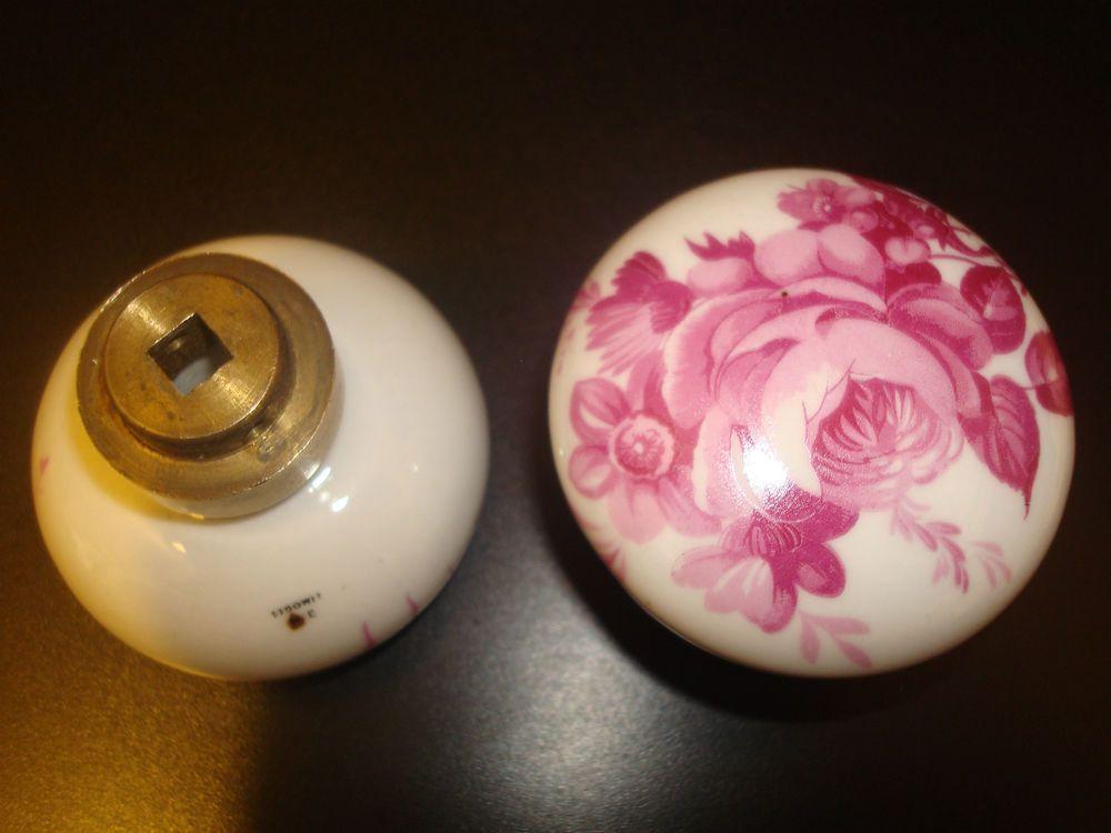 Poignee De Porte Porcelaine De Limoges Serrure Rose Loquet Bouton De Porte