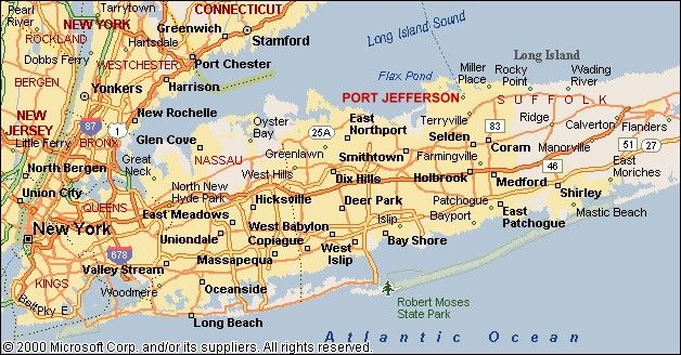 Map Of Long Island New York This is a map of Long Island showing the location of Port
