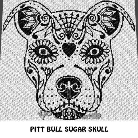 Tattoo Pit Bull Dog Sugar Skull Alpha Art C2c Crochet
