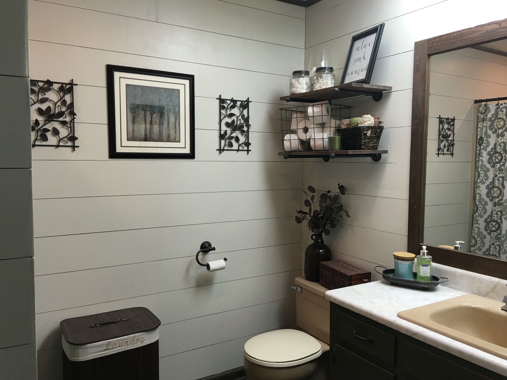 White duck by Sherwin Williams paint color Faux shiplap using plywood