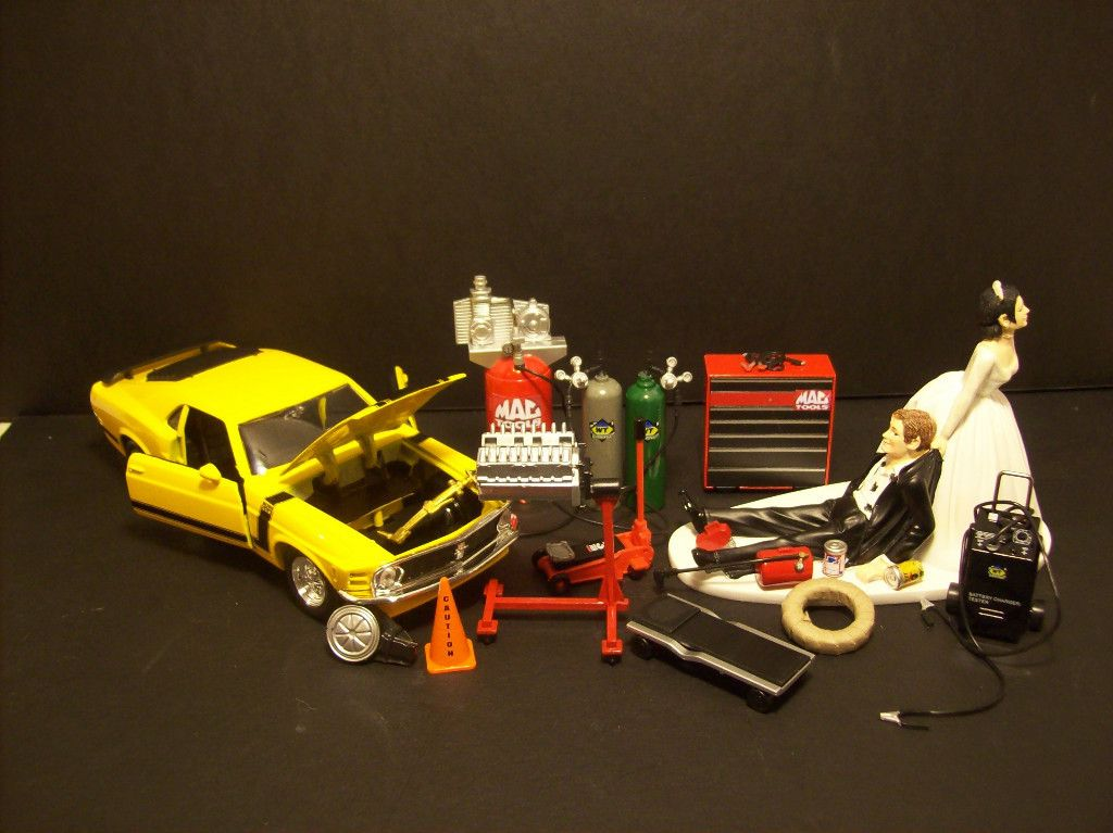 auto mechanic wedding cake topper mac tools engine tire 302 yellow