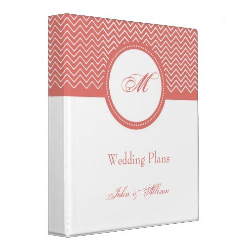Coral Chevron Monogram Wedding Organizer Binder