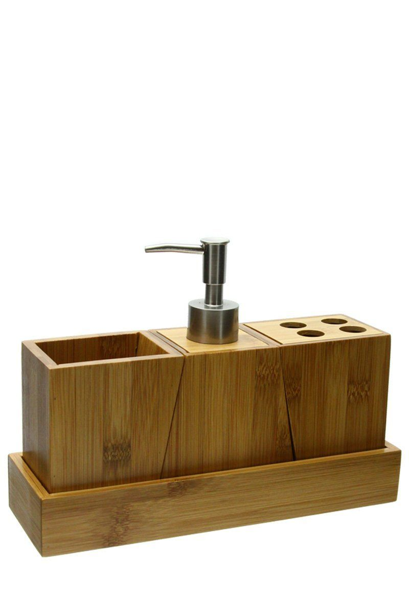 Set 3 accessoires salle de bain en Bambou et un plateau - 1 pot + ...