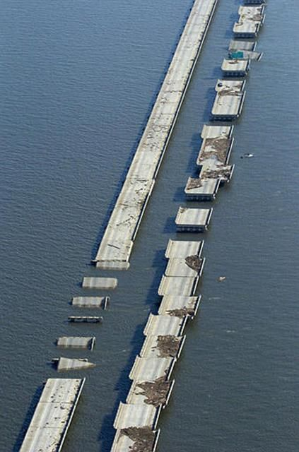 Hurricane damage to the Lake Pontchartrain Causeway in