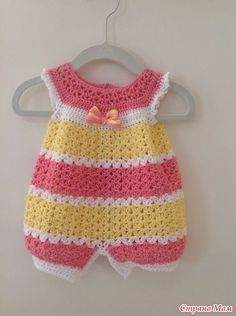 Tejidos A Crochet Modelo Enterizo Para El Verano Con Abertura Con Botones Para Un Mejor Man Crochet Baby Patterns Crochet Baby Dress Crochet Baby Dress Pattern