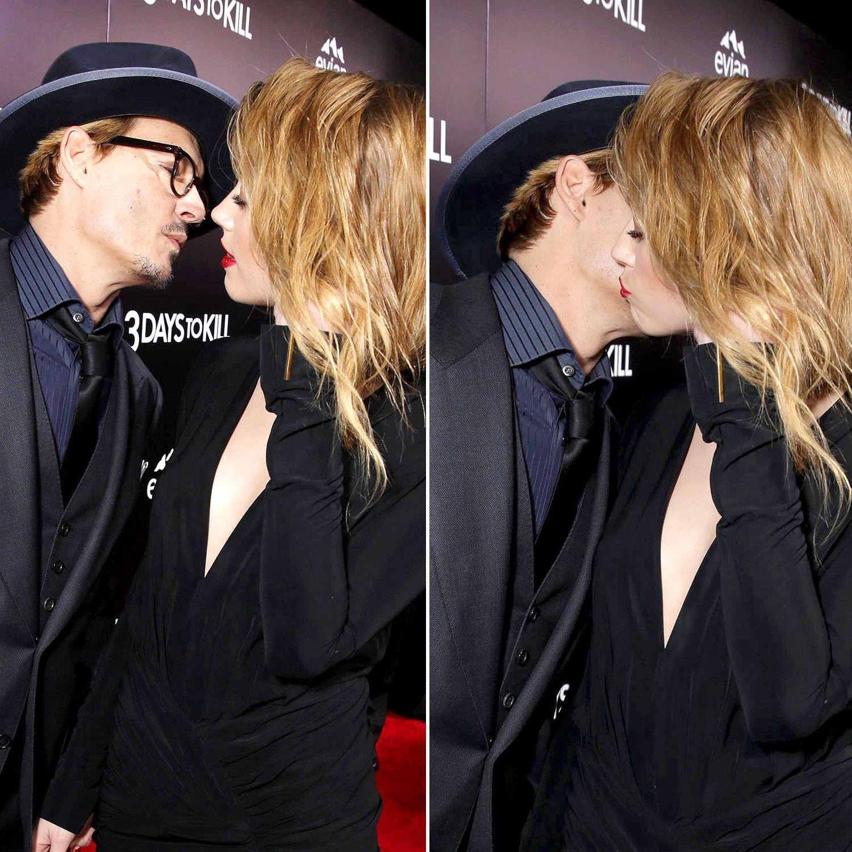 Cute Johnny Depp And Amber Heard Kiss On The Red Carpet Johnny Depp And Amber Johnny Depp Amber Heard