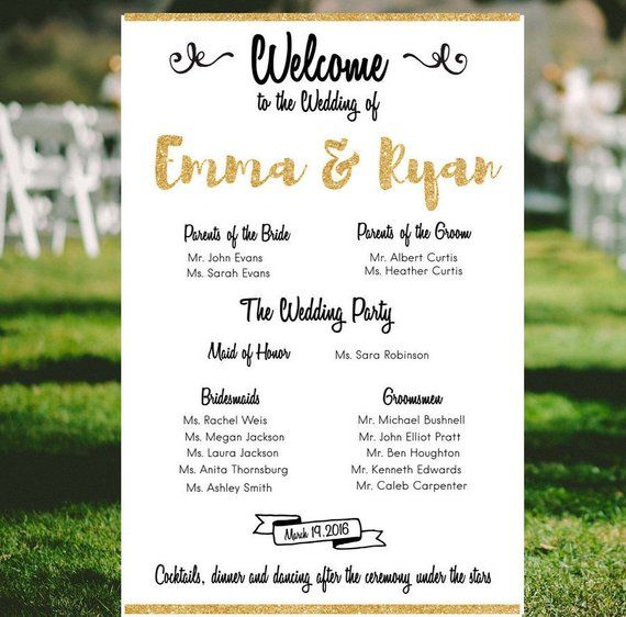 Gold Wedding Party Sign Large Modern Program Welcome Direction Cer