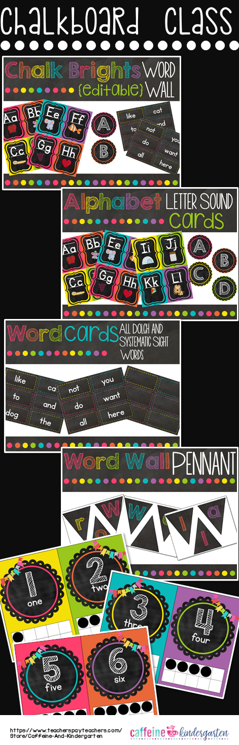 Chalkboard Theme Decor Word Wall - Black and Bright #classroomdecor