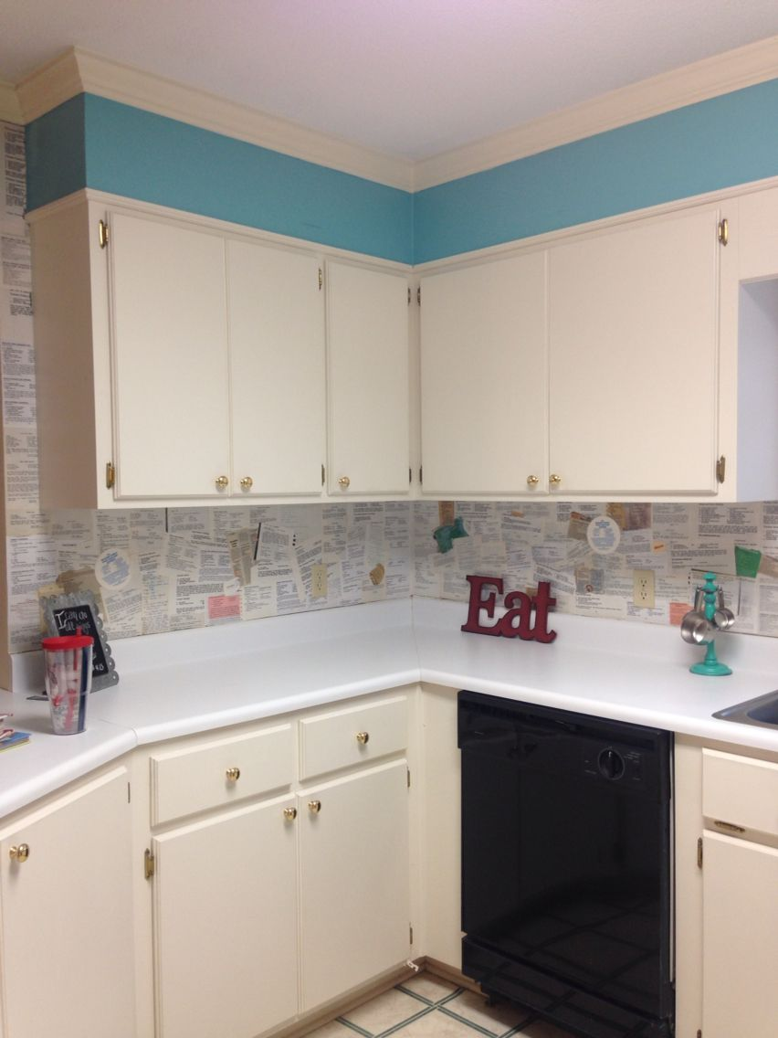 Decoupage Walls Using Cookbook Pages Kitchen Cabinets Kitchen Home Decor