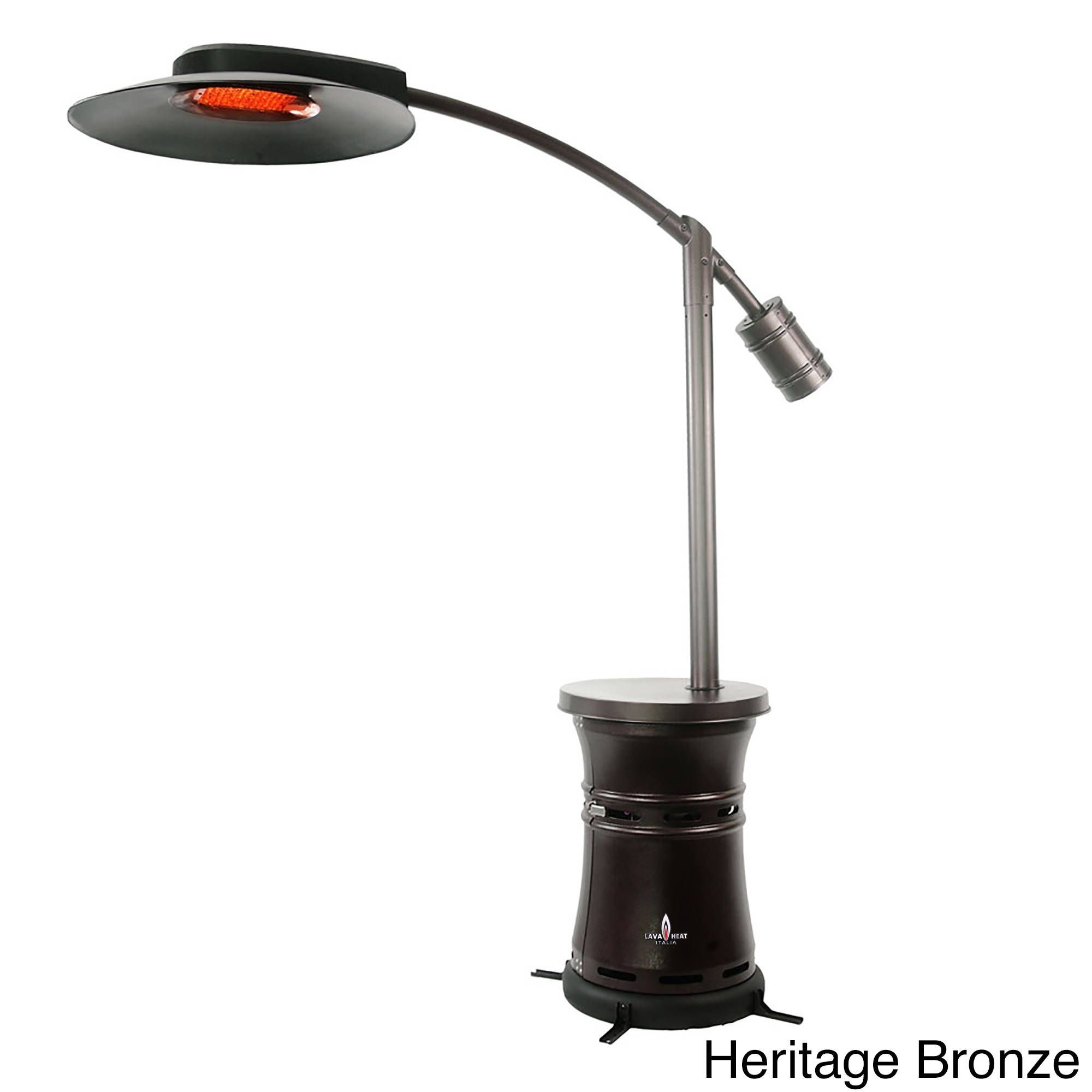 Lava Heat Italia Cantilever Commercial Dome Brown Stainless Steel Natural Gas Patio Heater Heritage Bronze Outdoor Décor