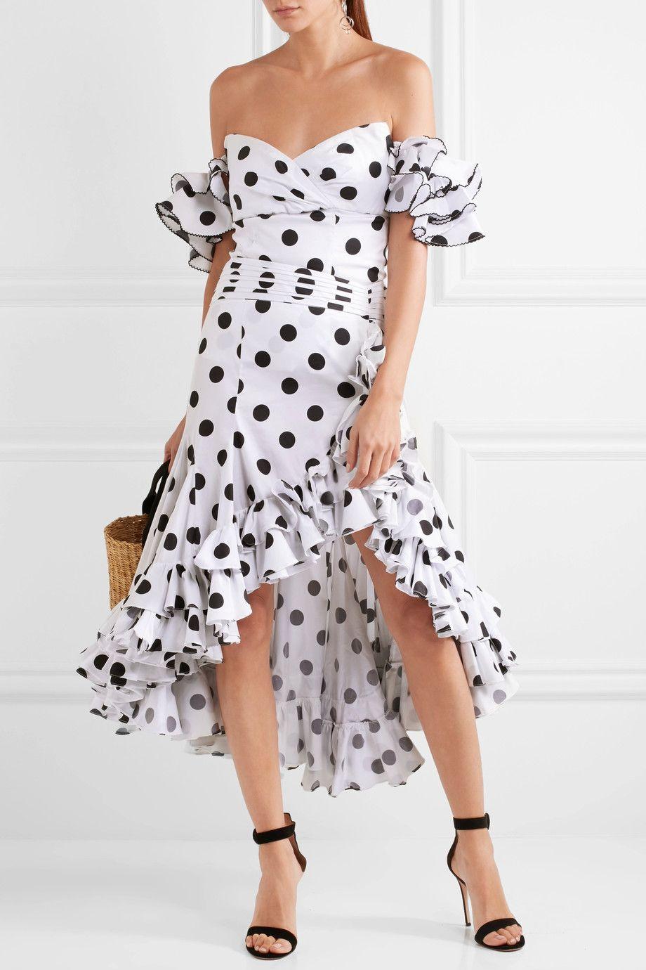 f2cc3701d CAROLINE CONSTAS Giovanna asymmetric ruffled polka-dot cotton skirt