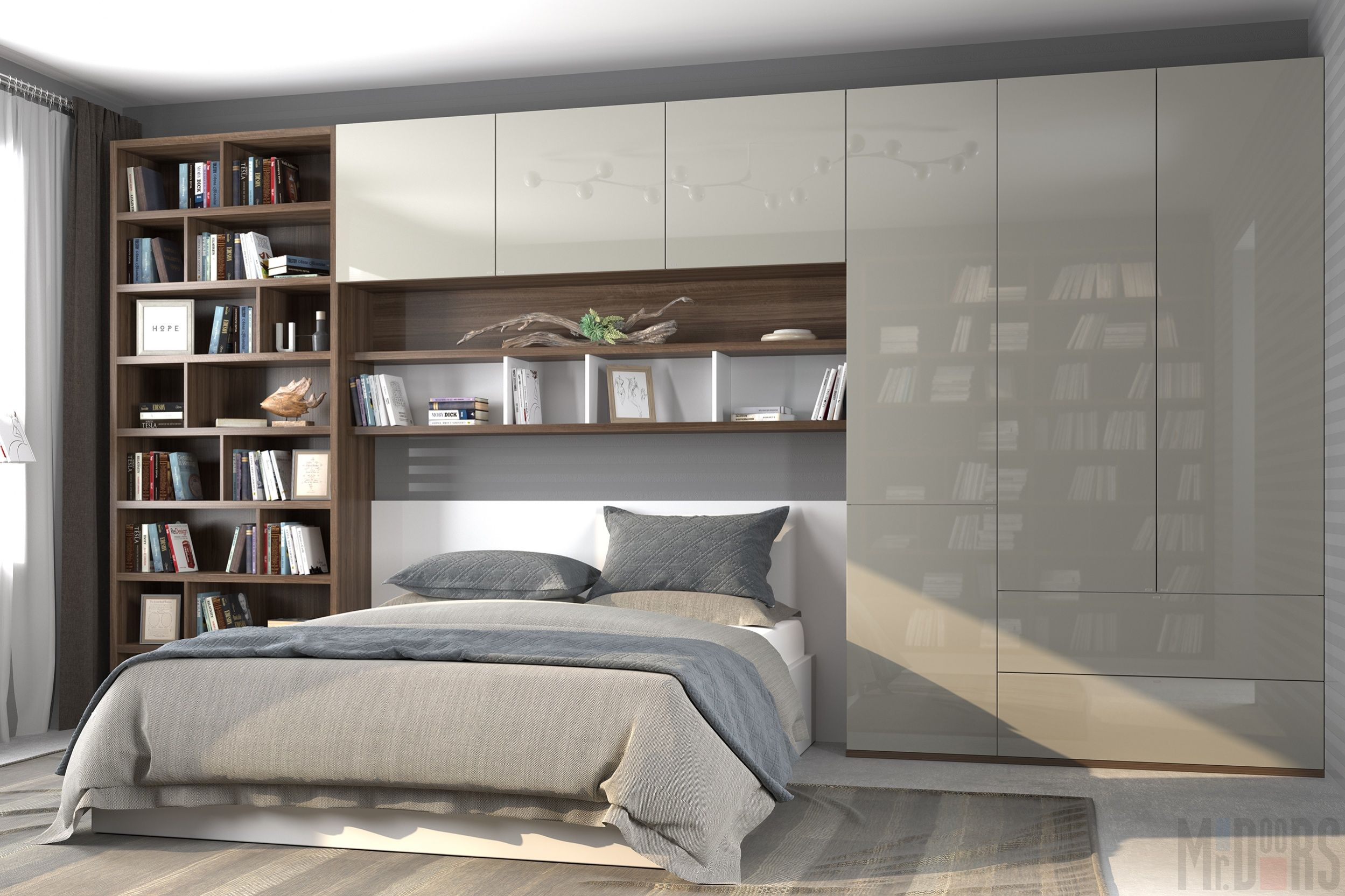 Loft bedroom fitted wardrobes  Image result for built in wardrobes around bed  Yatak odası