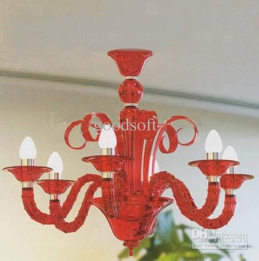 Modern Acrylic Chandeliers with 6 Lights Candle Featured Red ...