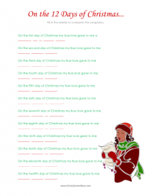 graphic about Words to 12 Days of Christmas Printable known as 12 Times of Xmas Tune Quiz - Printable Xmas Online games