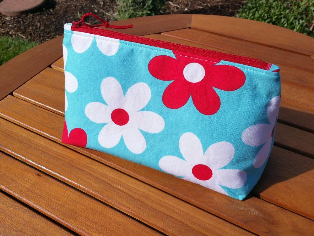 Aqua and Red Zippered Cosmetic Bag with Large Flower Print