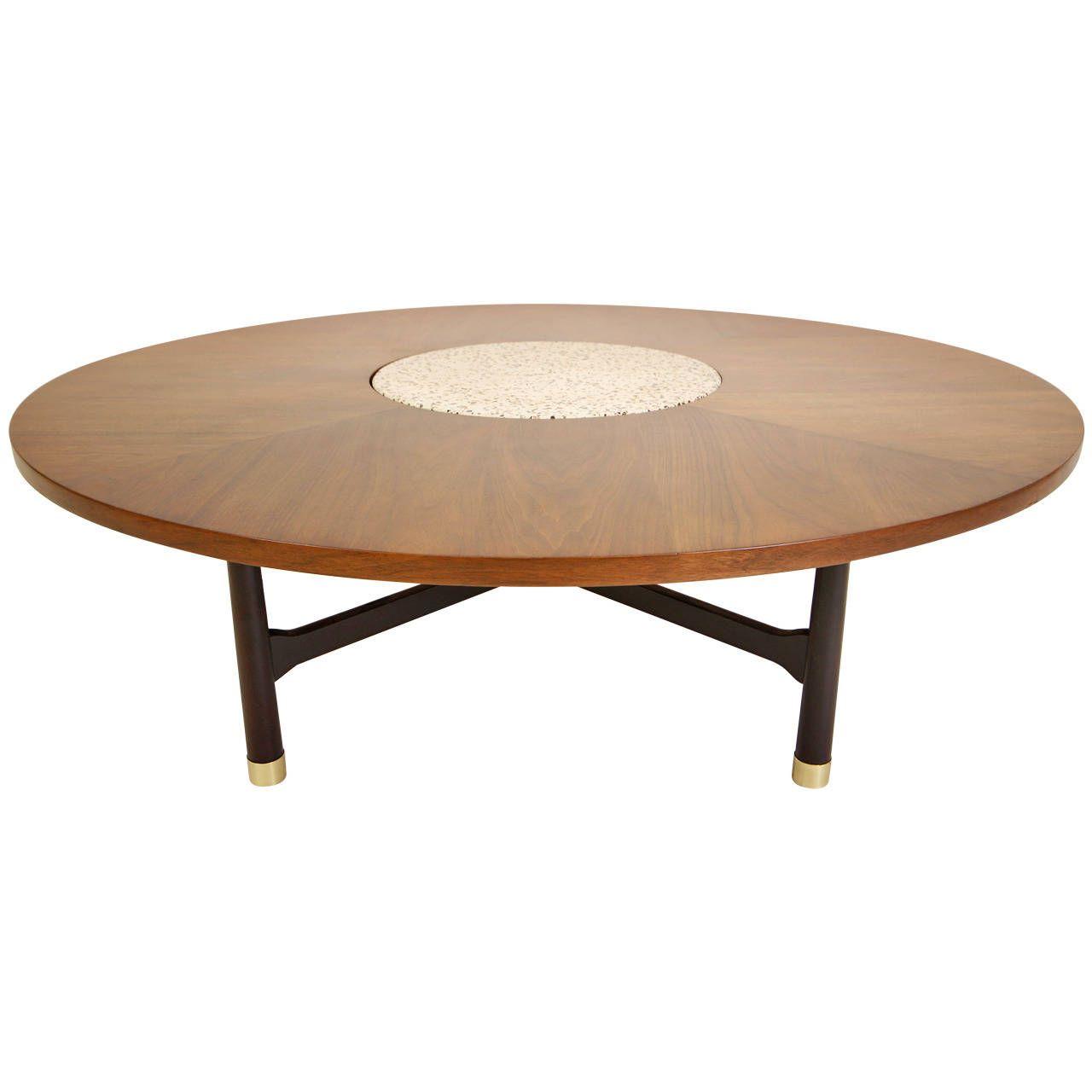 Harvey Probber Walnut and Terrazzo Low Coffee Table 1960s