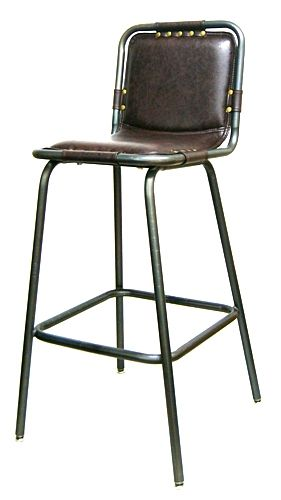 Industrial Bar Stool Padded Grommets Seat Design Metal Bar