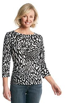 5da3f0921c9 Ruby Rd.® Animal Print Burnout Top on shopstyle.com   Clothes to Buy ...