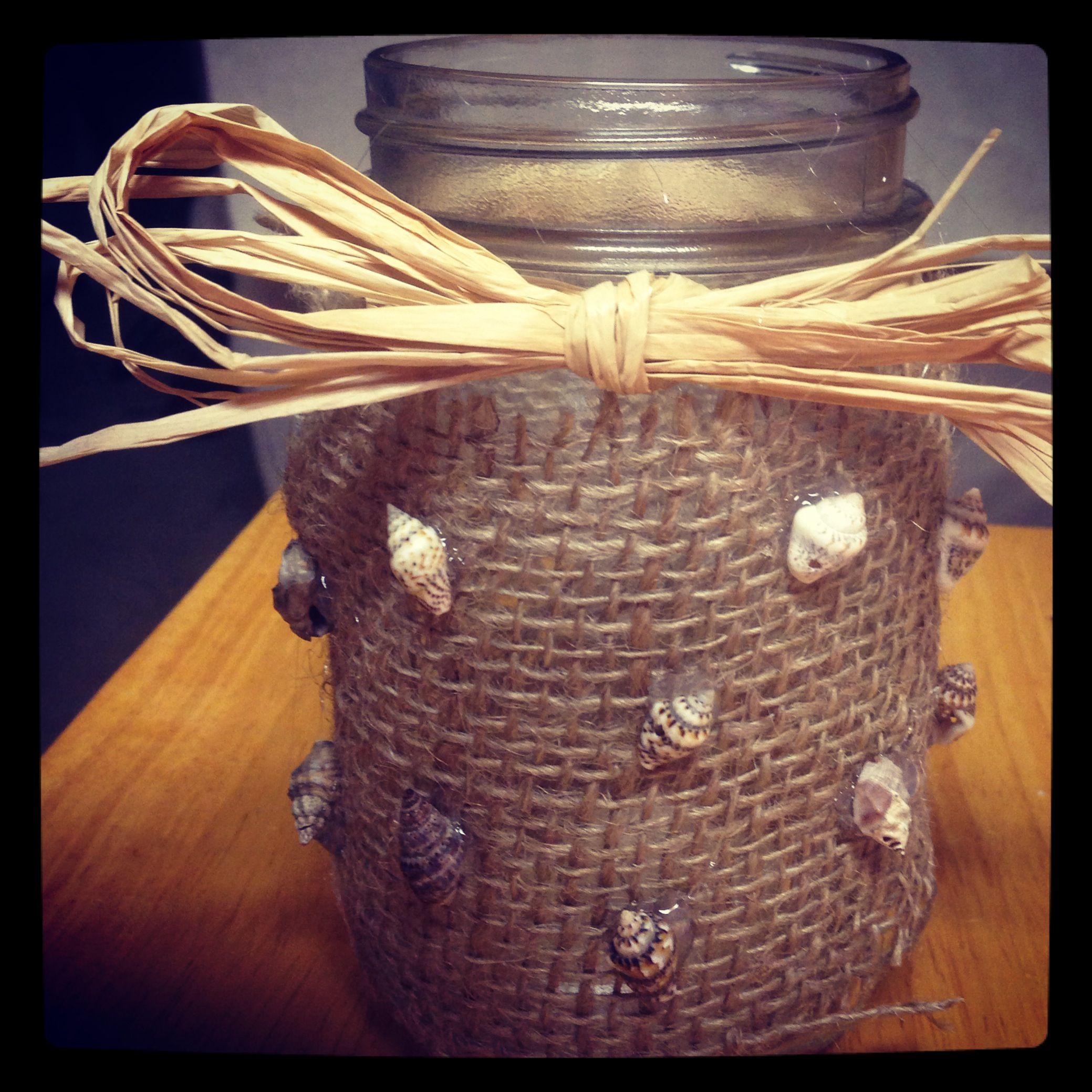 Fit Crafty Stylish And Happy Guest Bathroom Makeover: DIY Burlap Mason Jar With Seashells