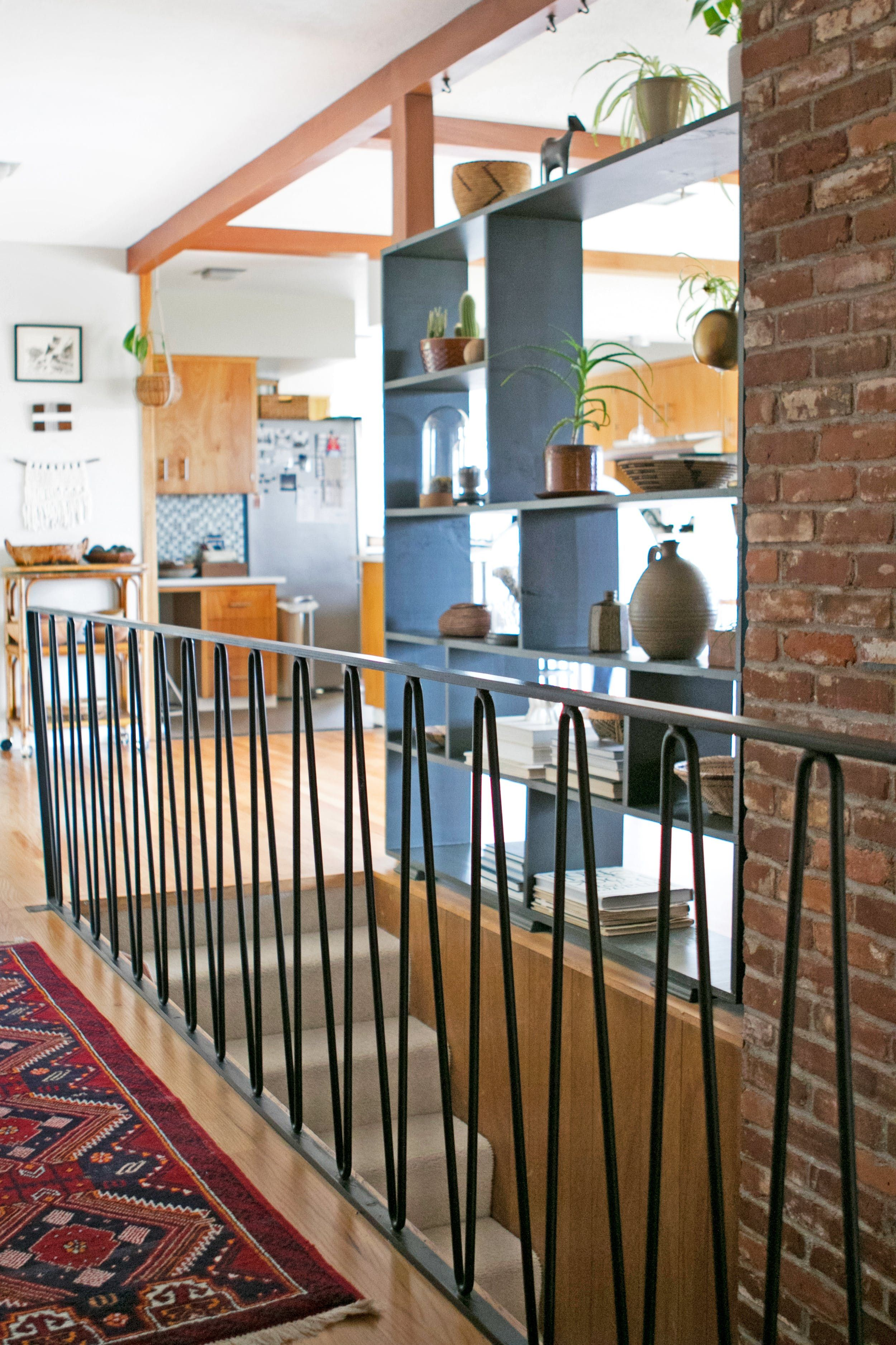 A 1960 Home Balances Mid Century Modern Vintage Styles Mid | Mid Century Modern Stair Handrail | Vertical | Decorative | Fixer Up | Living Room | Contemporary Curved Staircase