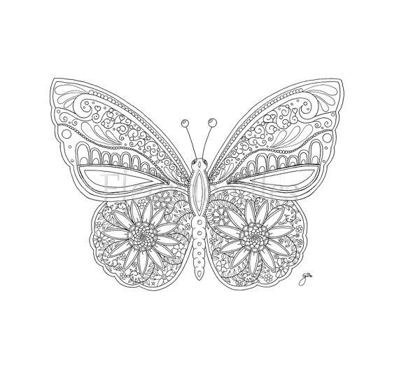adult coloring page Butterfly - printable digital download ...