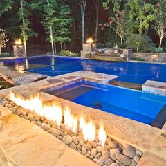 Dream pool fire feature automatic pool cover tanning - Covering a swimming pool with decking ...