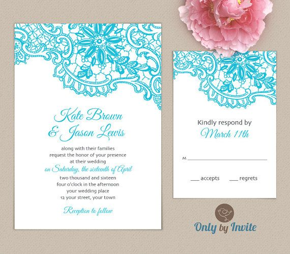Places To Print Wedding Invitations: Tiffany Blue Lace Wedding Invitation Printable