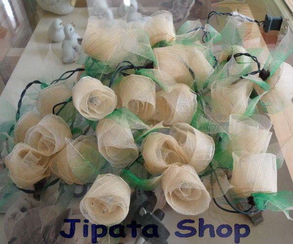 Pretty Cream Rose Rubber Leaf Party-Wedding-Decoration X-mas 110V LightString