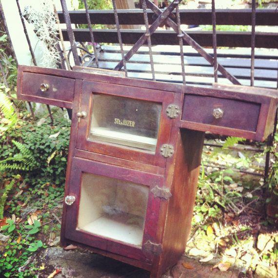 Vintage Barber Shop Wall Mounted Sterilizer Cabinet. $225.00, via Etsy.