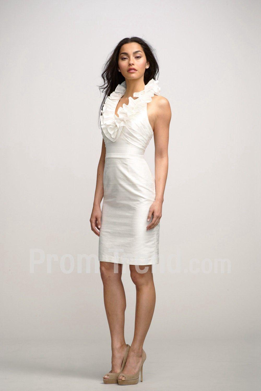 Sheath V-neckline Knee-Length Dupioni and Silk Wedding Dress For Bride - Promtrend.com