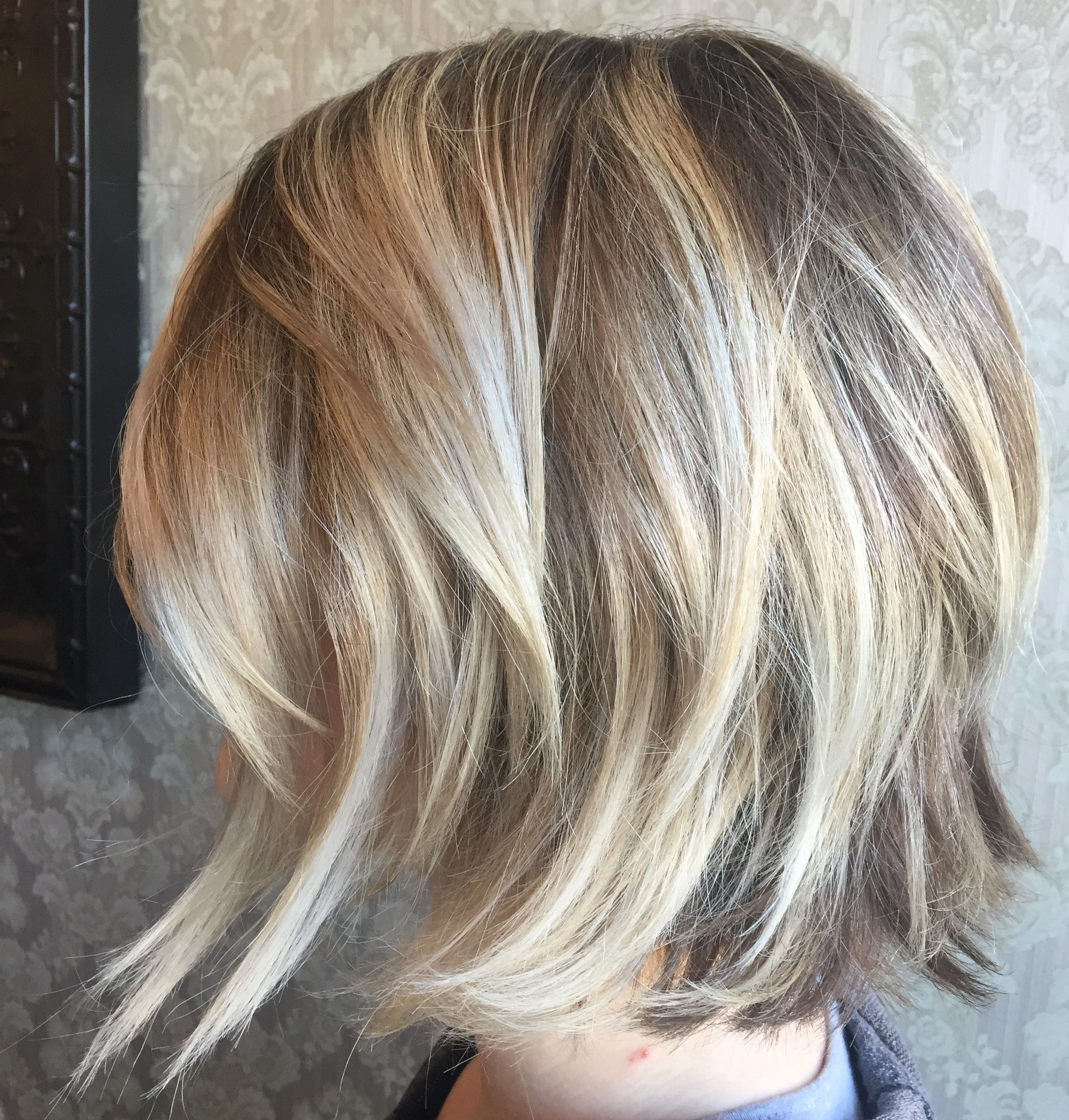 Blonde On Blonde Balayage Highlights Angled Bob Haircut Platinum