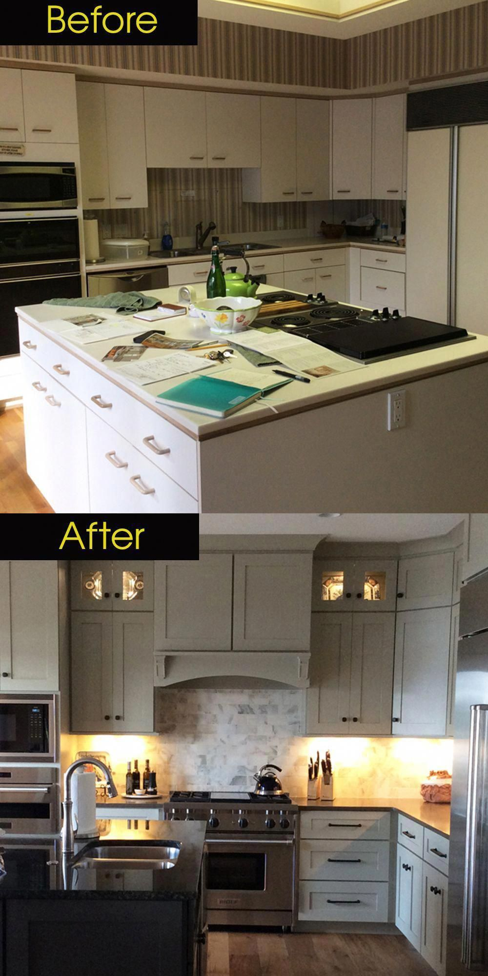 Kitchen Remodel Before And After Early 90s Kitchen Updated To A Modern Traditi Budget Kitchen Remodel Kitchen Remodel Small Kitchen Remodel Before And After