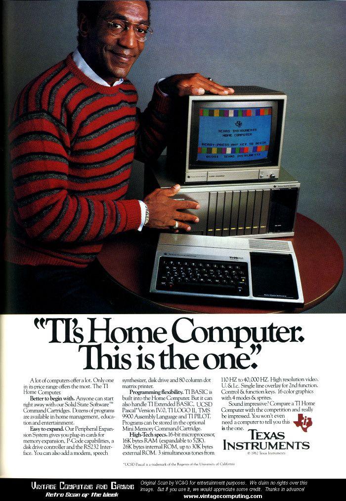 Whoa. Bill Cosby endorsing Texas Instruments Computer