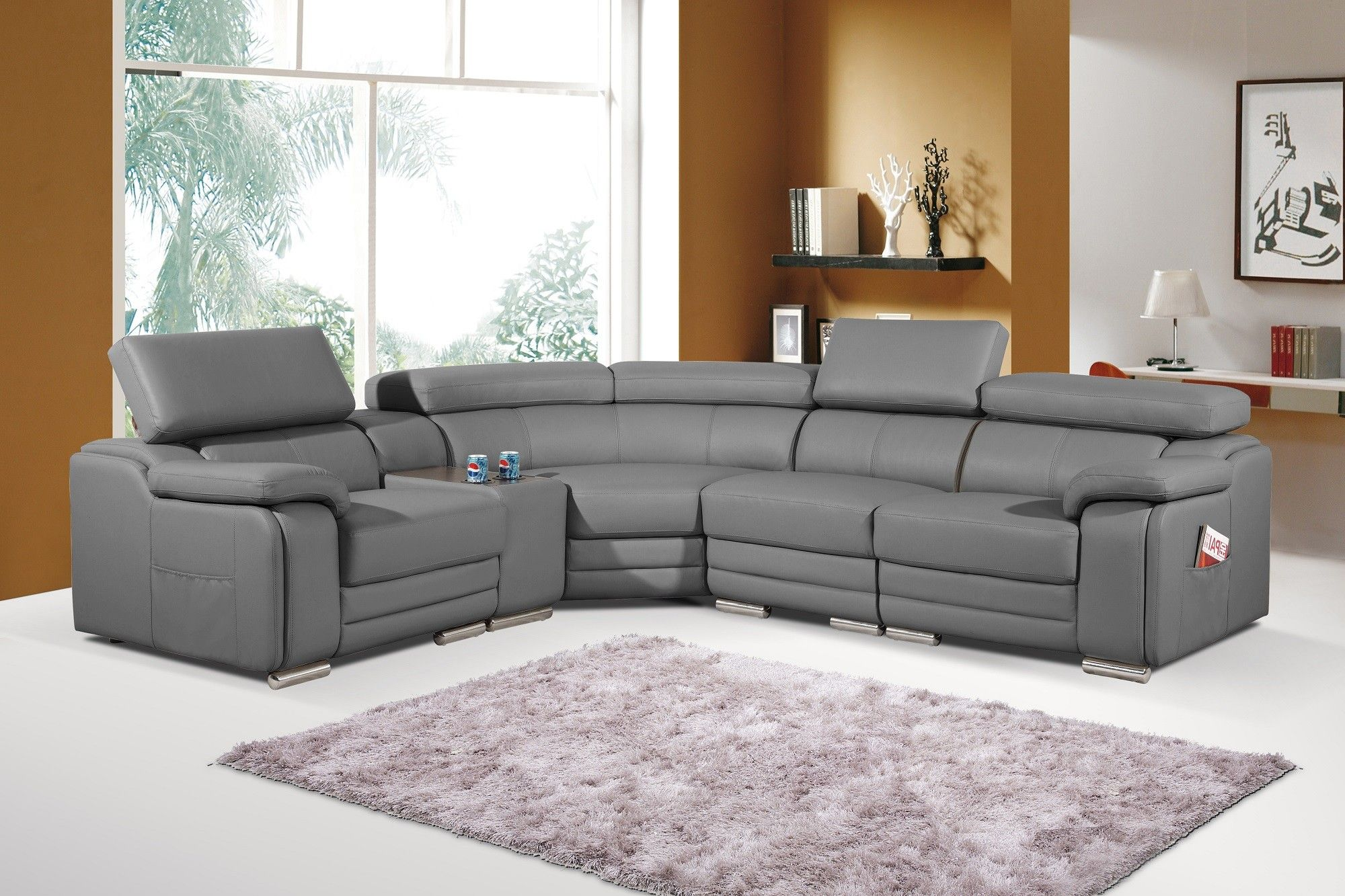 pleasing on couch grey by curved fur arms sectional showing added leather white design round nice back look rug of with table glass and