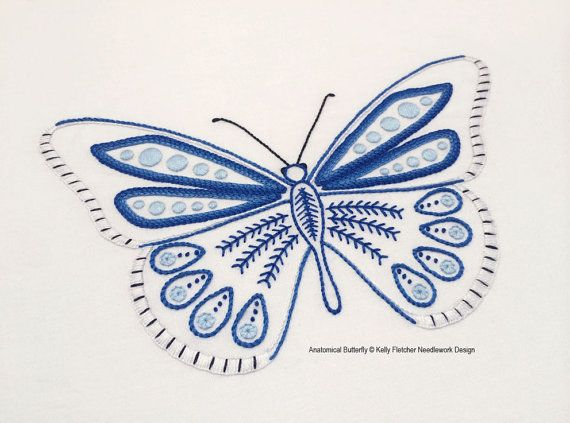 Anatomical Butterfly hand embroidery pattern