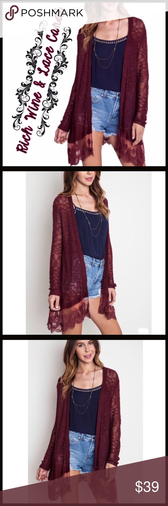 Lightweight Sweater Burgundy & Lace Boutique | Lace trim