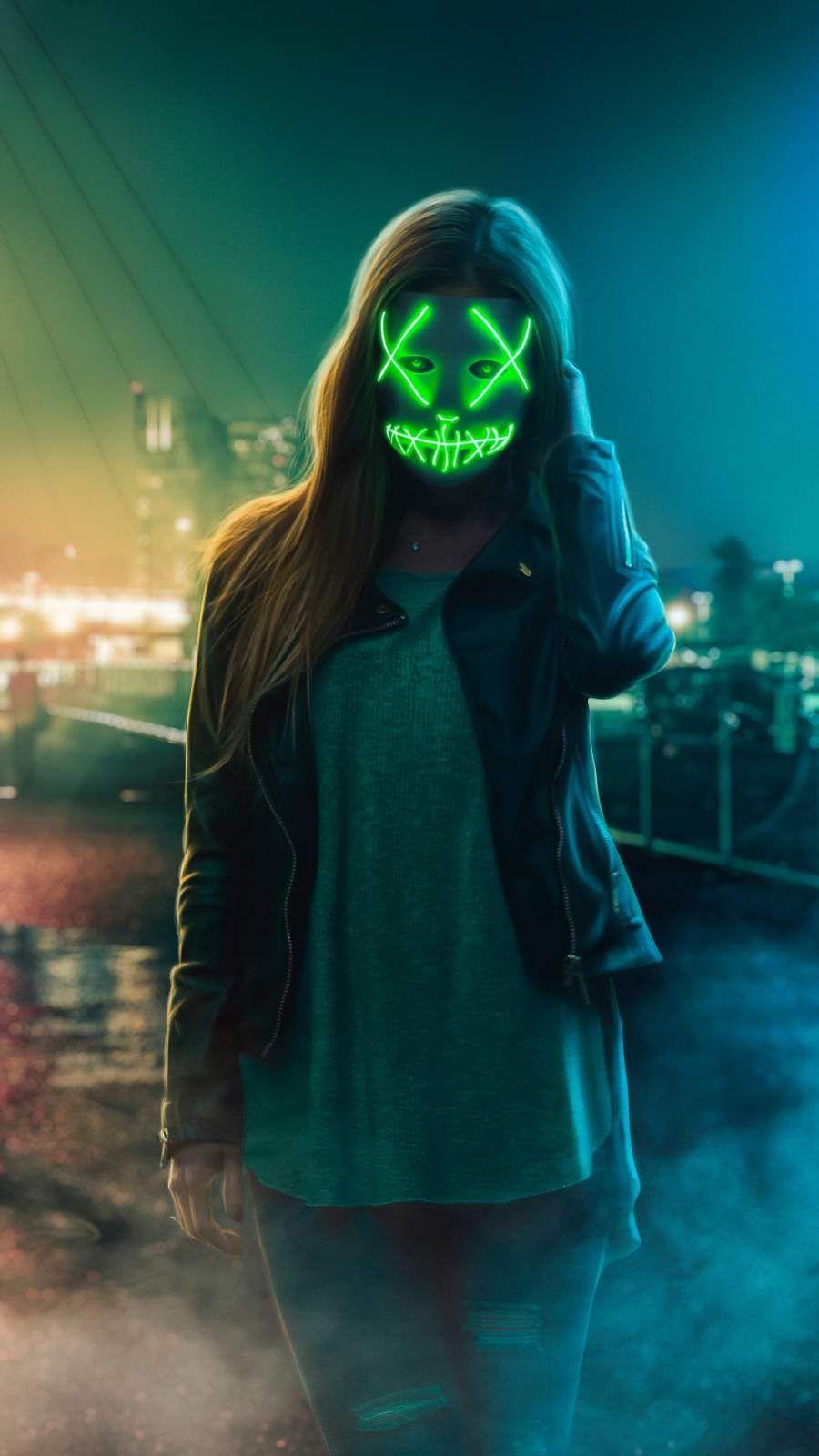 Neon Eye Mask Girl Iphone Wallpaper Girl Iphone Wallpaper Mask Girl Joker Iphone Wallpaper