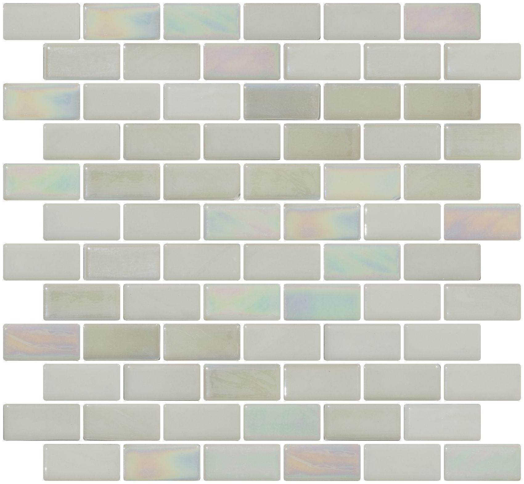 1x2 Inch Steam White Iridescent Recycled Subway Glass Tile RB | Pool ...