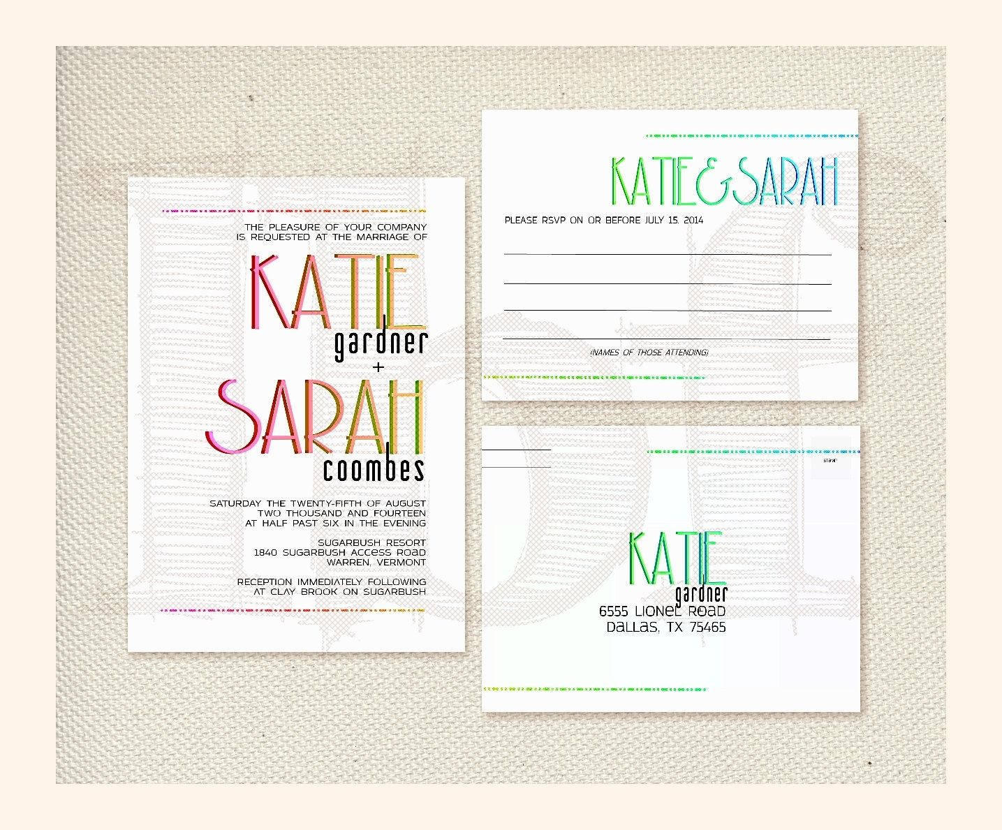Custom Made Rainbow Typography Wedding Invitation & Rsvp Cards ...
