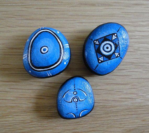 set of 3 painted pebbles blue via etsy pebbles and. Black Bedroom Furniture Sets. Home Design Ideas