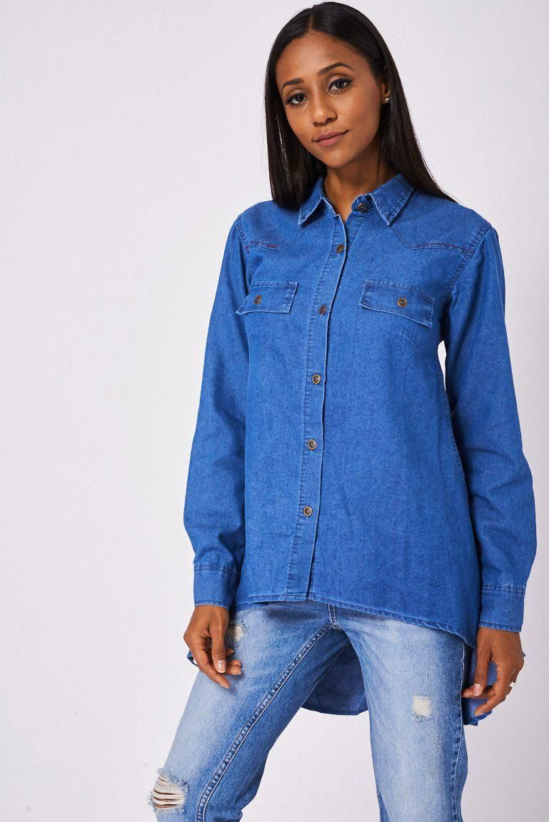 d17f635d7e Blue Dipped Hem Denim Shirt Ex-Branded This item is ex-branded and will  therefore have the labels cut Key Features Include  - Pointed Collar - Long  Sleeves ...