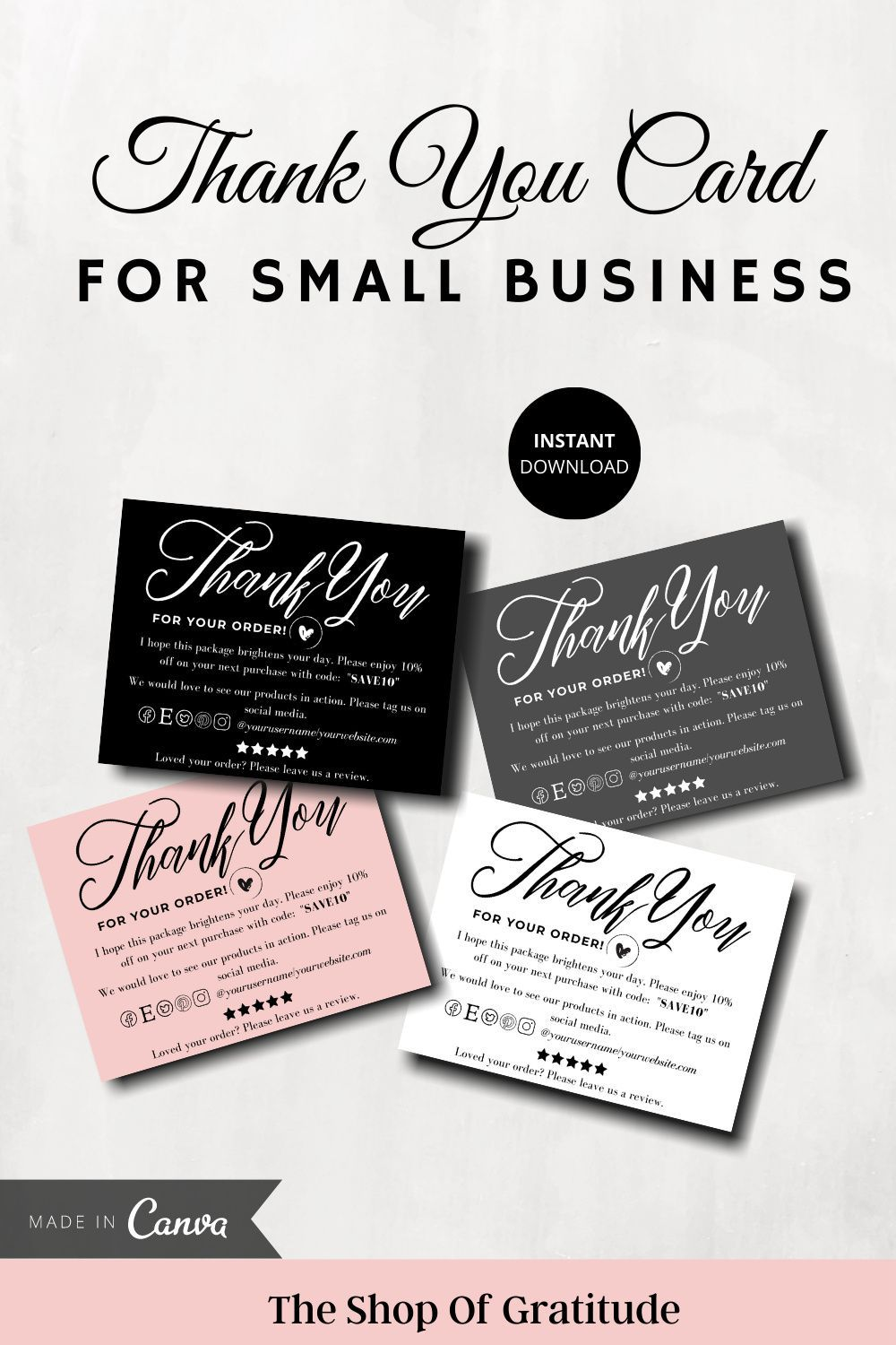 Thank You Card Template For Small Business Pintable And Easy Etsy In 2020 Thank You Card Template Printable Thank You Cards Business Thank You Cards