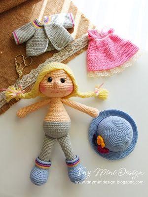 Amigurumi Tini Mini Girl Bau-Kostenlose Muster Tini Mini Dolls - Tiny Mini D ......