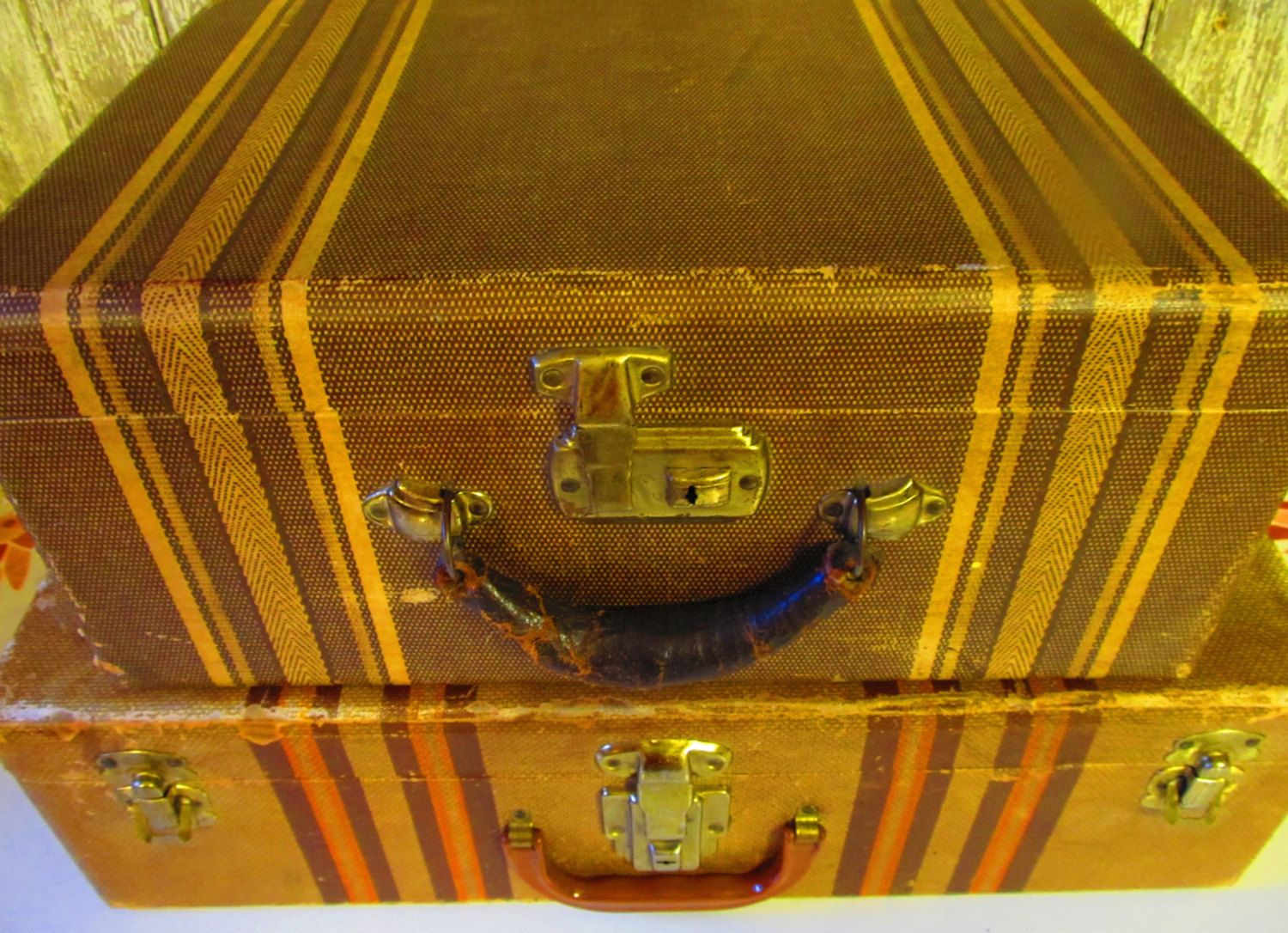 Antique Striped Suitcase Pair Vintage Luggage 1930u0027s/1940u0027s Stacking Set  Leather Handle Paper Interior Home Decor Storage