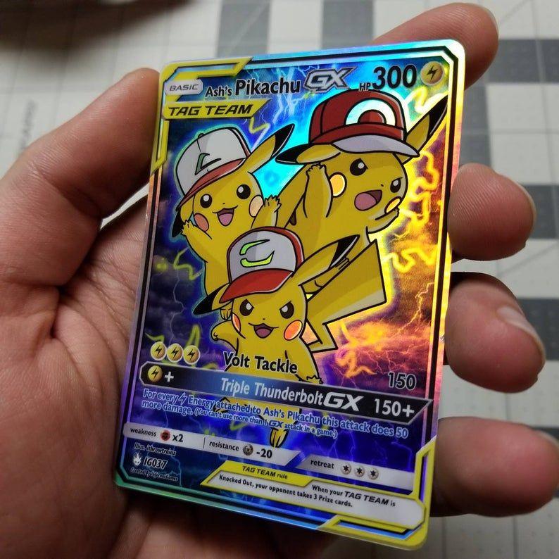 Ashs pikachu tag team gx full art rainbow holo custom
