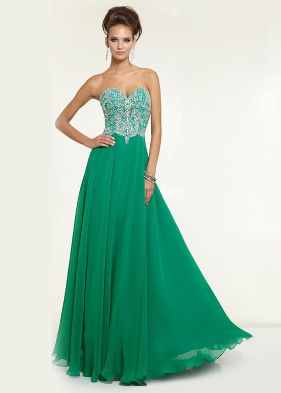 Green Sheer Beaded Low Back Strapless Chiffon Prom Dress ...