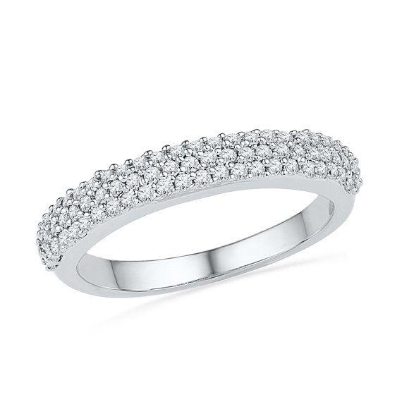 Triple Row Womens Diamond Wedding Band With 2 5 By Jewelrybyjohan