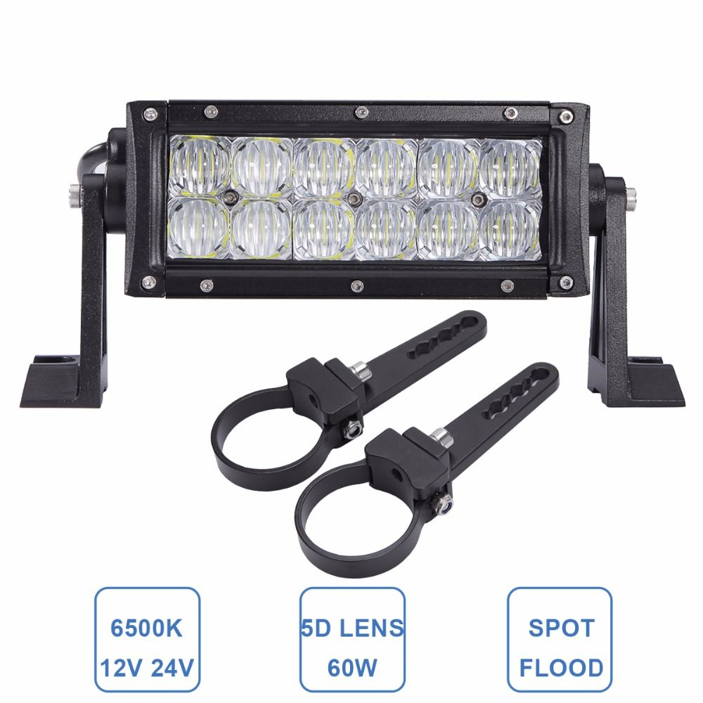 8 60w Offroad Led Work Light Bar 12v 24v Car Atv Suv Trailer